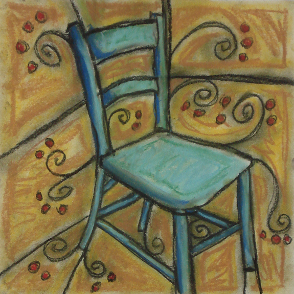 blue chair with swirls
