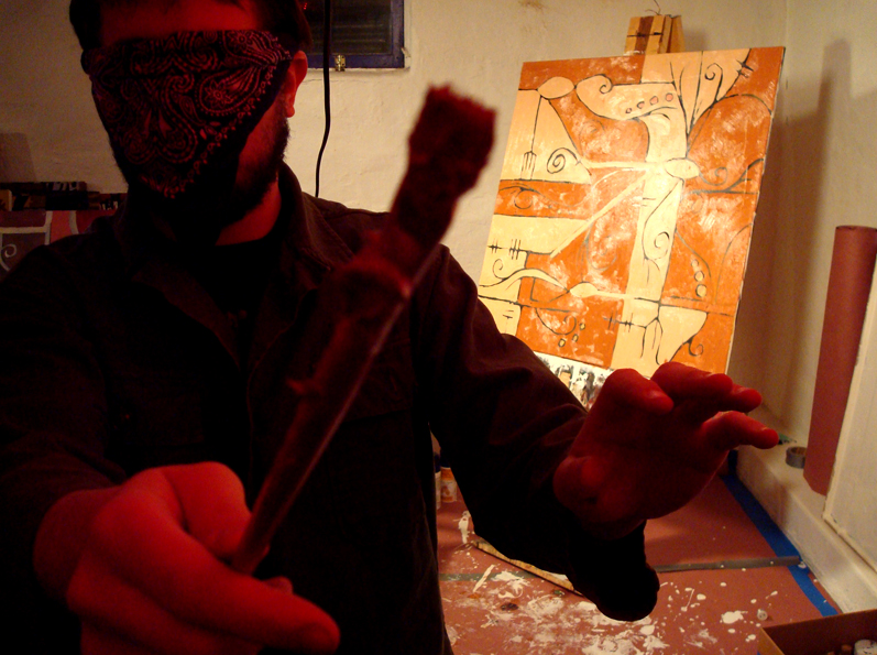 blindfolded painting
