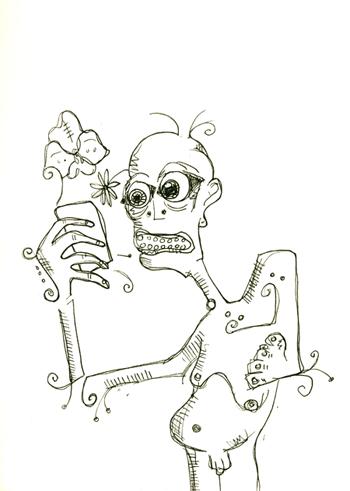 caveman finds a cellular phone