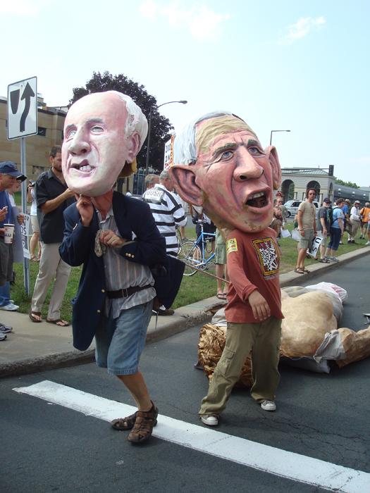 McCrazy and Bush dragging Lady Liberty