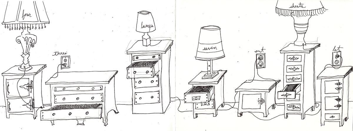 four lamps seven chests three out let
