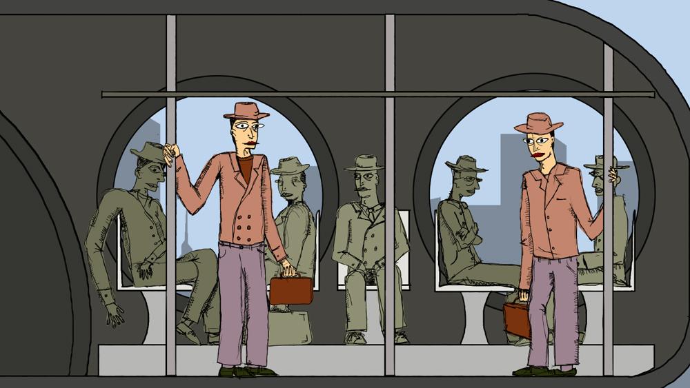 men inside the train