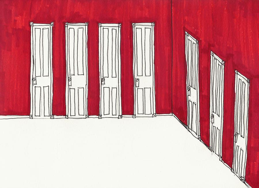 white doors and floors