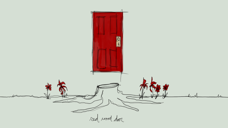 red wood door