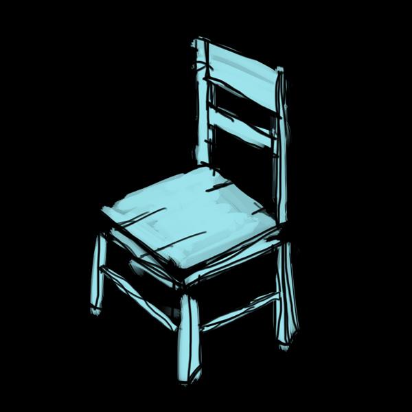 blue chair in the dark