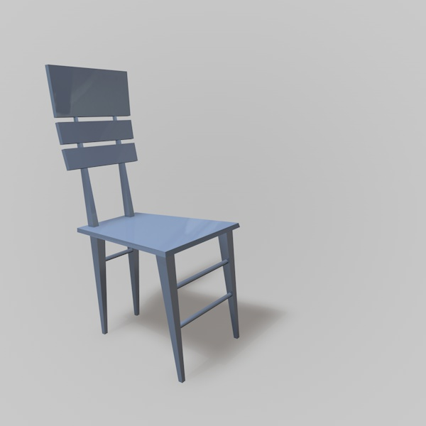 blue chair with infinite background
